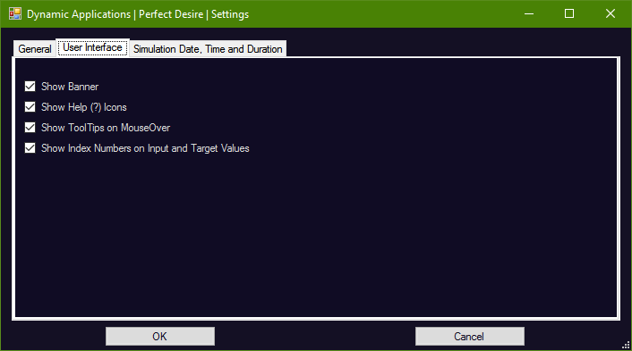 PD User Interface Settings