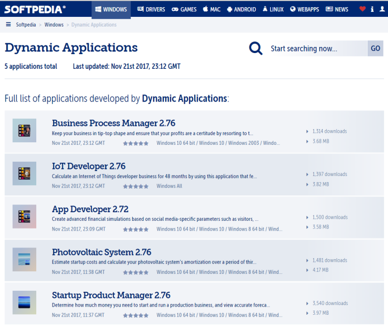 2017.11.25 - Softpedia - Dynamic Applications overview page