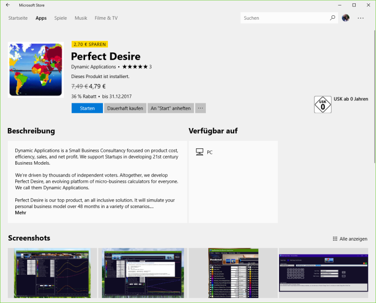 Windows 10 Store - Perfect Desire