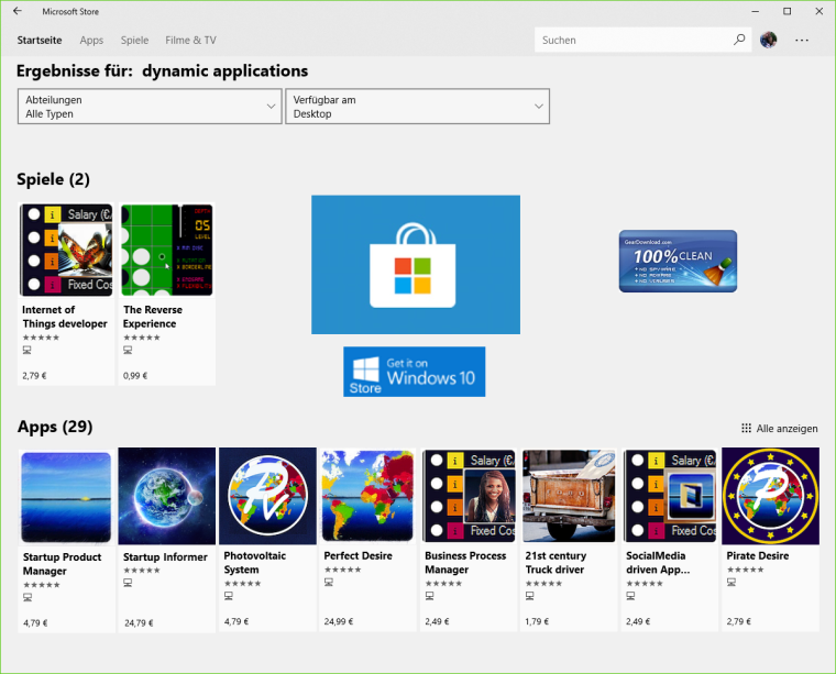 Dynamic Applications - Windows 10 Store