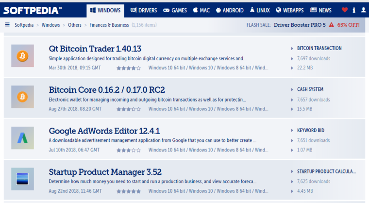 2018.08.24 - Softpedia - Business - Finance - Bitcoin Core - Google Adwords - Startup Product Manager