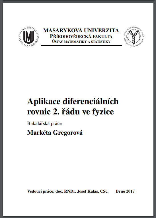 BRNO 2017 Markéta Gregorová Czech Pirates Master Thesis on differential equations