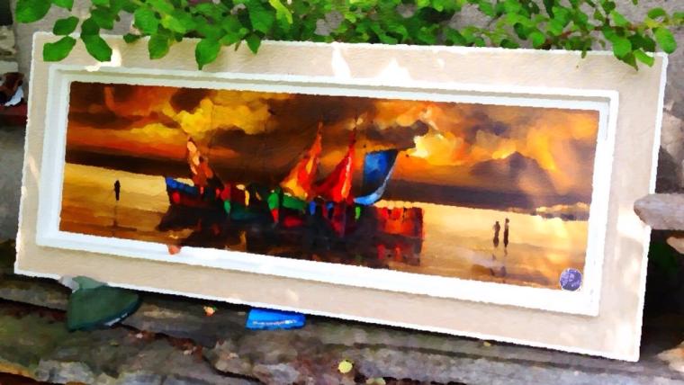 Piraten - Schiffe mit gerefften Segeln - im Sonnenuntergang