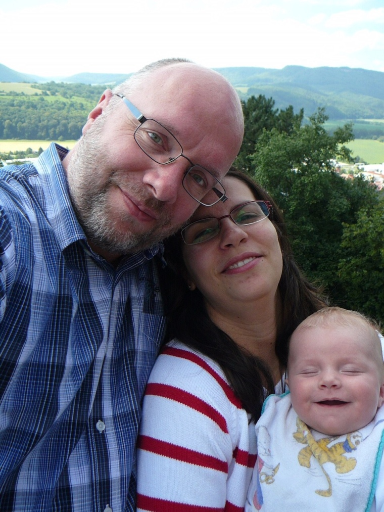 Martin, Yvonne, and Lukas Bernhardt, Burg Normannstein, near Treffurt, at the german border, on 27 June 2011
