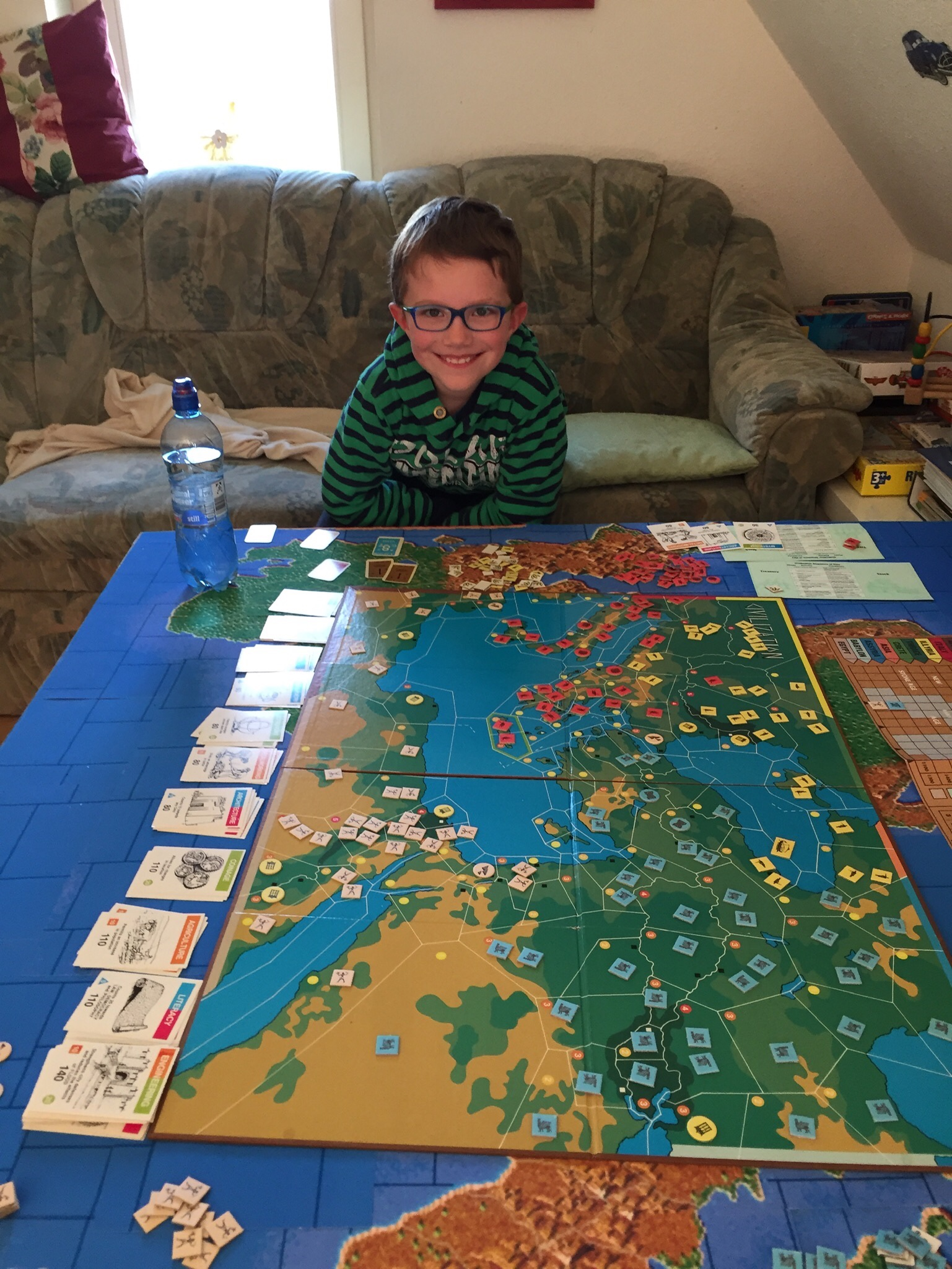 Lukas Bernhardt at Home, August 2019. Playing Civilization, an Avalon Hill Board Game