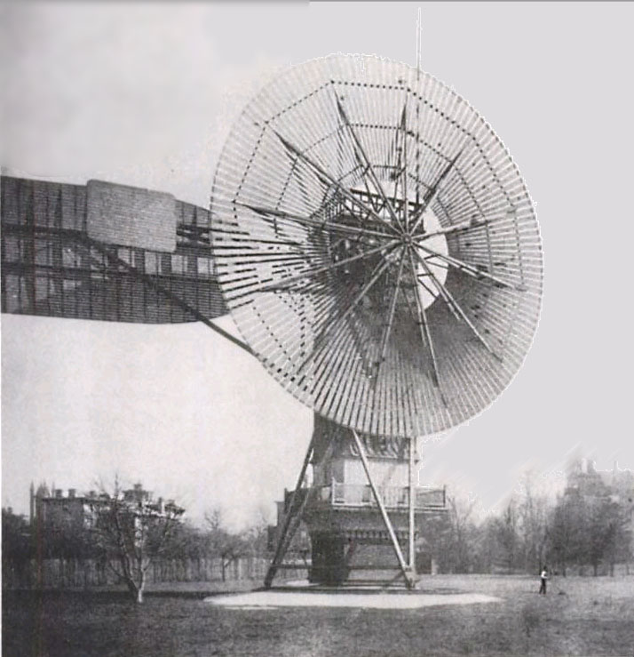 World's first automatic Wind Turbine, 12 kW. Built 1888 in Cleveland by Charles F. Brush.
