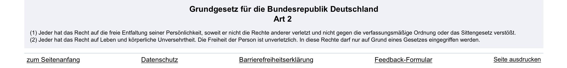 Grundgesetz der Bundesrepublik Deutschland. Artikel 2. Das Recht zu leben in Freedom, Freiheit und Verantwortung.