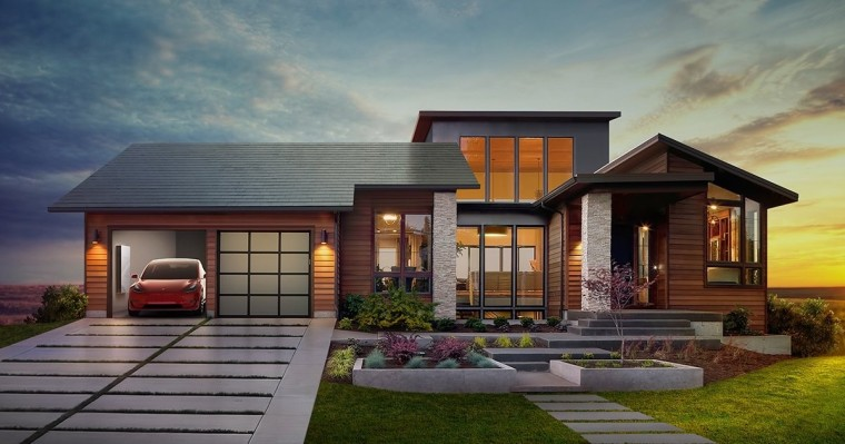 Tesla - Solar Brick House with Tesla Model 3 - World Model III
