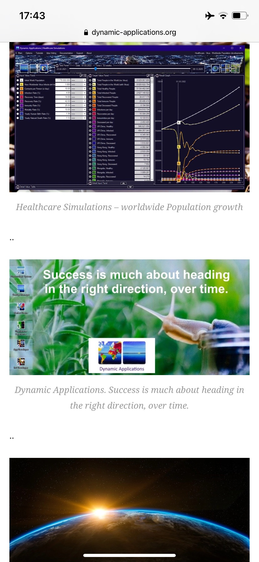 Dynamic Applications - Success is much about heading in the right direction over Time.