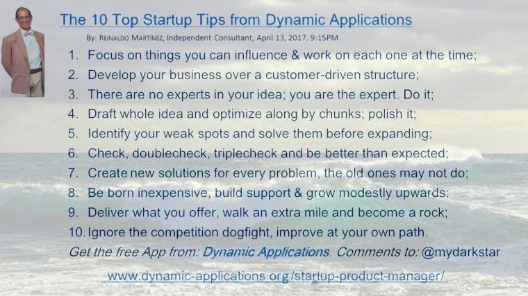 The Top 10 Startup Tips by Dynamic Applications - Reinaldo Martinez, Caracas, Venezuela.