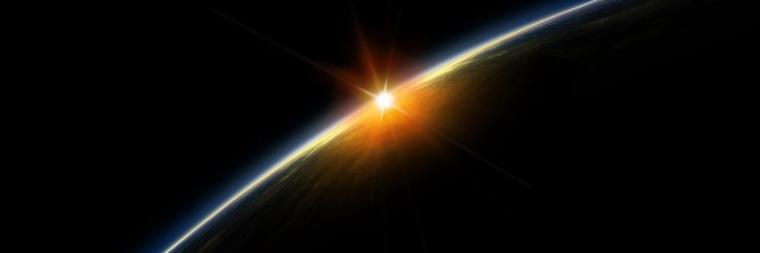 sun on rising earth horizon